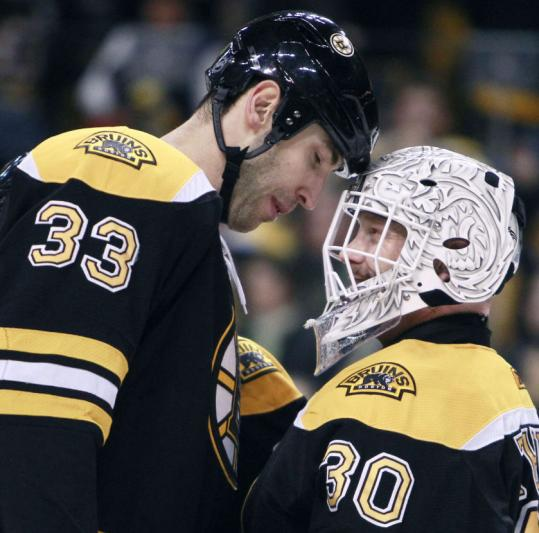 A heady moment indeed for Zdeno Chara, who celebrated his first NHL hat trick with fellow All-Star Tim Thomas on Jan. 17.