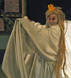 "Peter Schumann portrays Penelope in Bread and Puppet Theater's updated version of ""The Return of Ulysses.'"