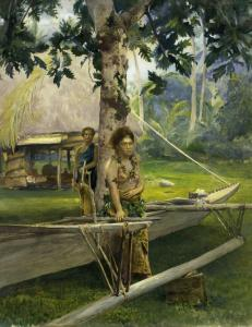"John La Farge's ""Portrait of Faase, the Taupo, or Official Virgin of Fagaloa Bay, and her Duenna, Samoa'' (above) and ""Entrance to Tautira River, Tahiti.''"