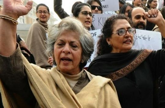 Pakistani civil society activists protest in Lahore against the killing of late Punjab Governer Salman Taseer.