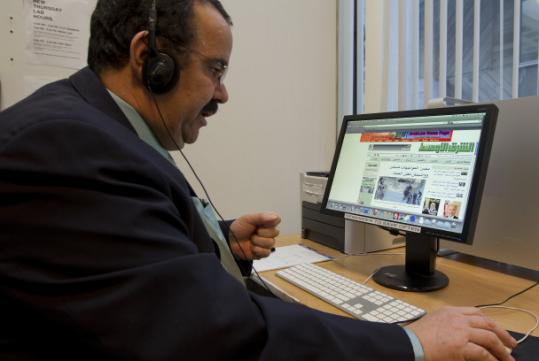 Egypt native Zagloul Ayad, in his Cambridge office, searched online for information about his country.