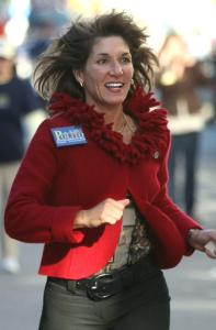 Karyn Polito sprinted her way through part of a parade in East Boston before Election Day.