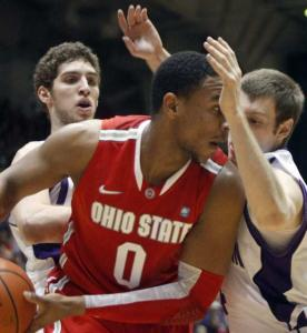 Northwestern's Davide Curletti (left) and Alex Marcotullio look to have Ohio State's Jared Sullinger in a tight spot.