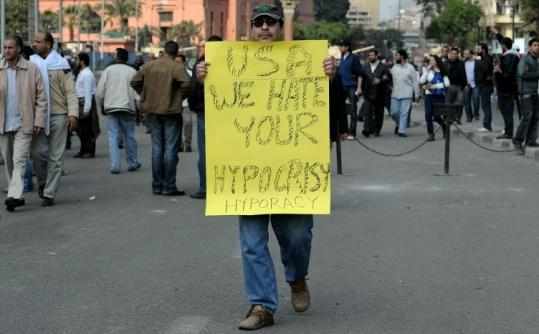 Protests against President Hosni Mubarak continued in Cairo yesterday, as the US refused to publicly take sides in the revolt.