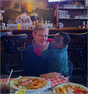 Cathy Mayo and her son Delmace at Doyle's Cafe in Jamaica Plain.
