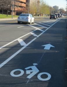 The European-style bike lane on Western Avenue separates bikes from traffic.