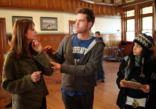 "STEVE HAINES FOR THE BOSTON GLOBE From left: actress Alexie Gilmore, director Tom O'Brien, and script supervisor Abbe Novack on the set of ""Fairhaven'' in the Town Hall."