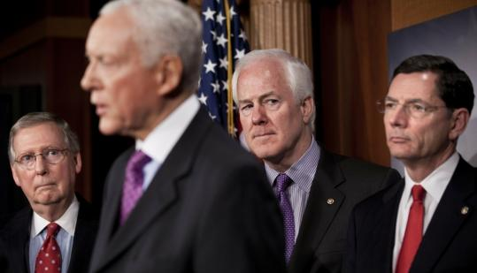 Senator Orrin G. Hatch, Republican of Utah, addressed a news conference on Capitol Hill yesterday. The Senate voted, along party lines, against a repeal of the Affordable Care Act.