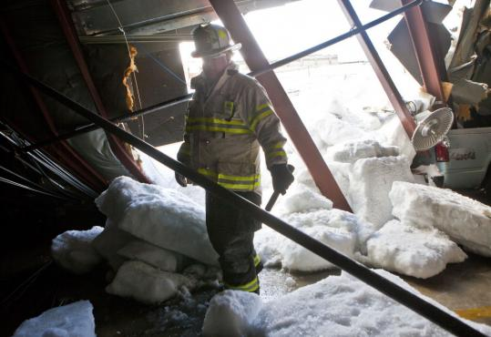 Deputy Chief James McDonald of the Lynn Fire Department at a collapsed parking garage last week.