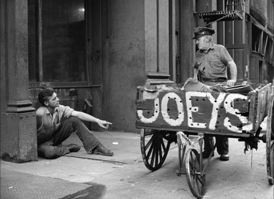 "Ray Salyer (left, with Frank Matthews) plays a down-and-out laborer in ""On the Bowery.''"