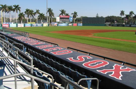 City of Palms Park in Fort Myers looked ready for Boston Red Sox pitchers and catchers to arrive next Sunday. The Edison & Ford Winter Estates look out on the Caloosahatchee River.