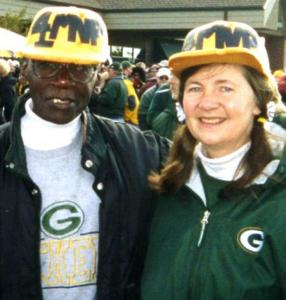 Vernon and Betsy Grant at the storied Lambeau Field in 2002.
