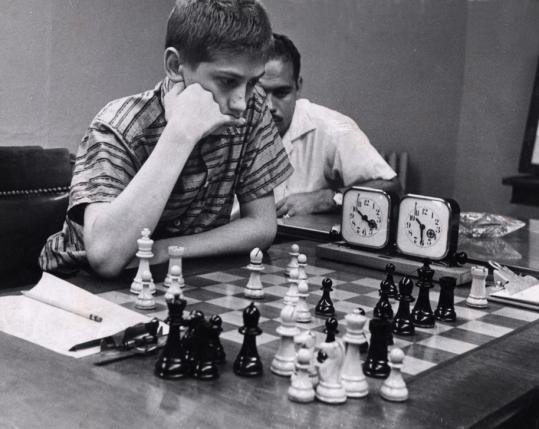 Bobby Fischer, when he was 12 years old, playing in a match at the Manhattan Chess Club on Sept. 14, 1957.