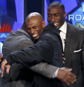Deion Sanders (center), Marshall Faulk (left) and Shannon Sharpe head the 2010 Hall class.