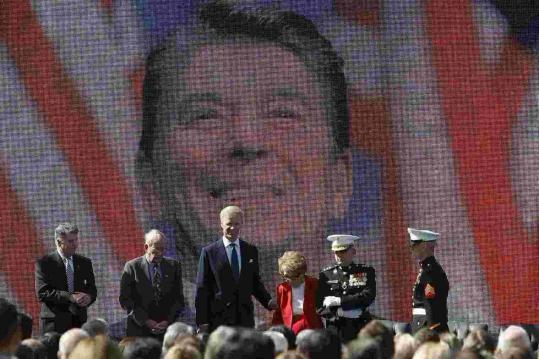Nancy Reagan, 89, and others gathered yesterday at a celebration of the late president's 100th birthday in Simi Valley, Calif.