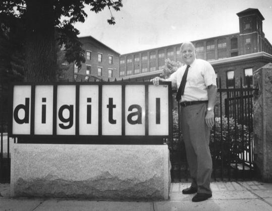 Kenneth Olsen, in front of Digital Equipment Corp.'s Maynard headquarters. He started DEC in 1957 with $70,000.
