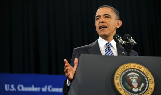 President Obama addressed the US Chamber of Commerce in Washington yesterday, trying to improve his standing with the group that has spent millions to oppose much of his agenda.