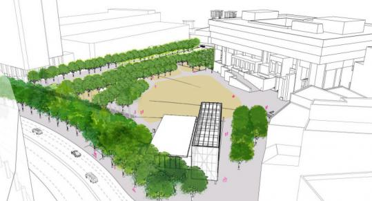 Both of the proposals to update City Hall Plaza would add rows of trees and a clearer path to the entrance of City Hall.