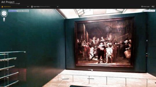 Google Art Project allows users to navigate through leading museums, zooming in on works such as Rembrandt's 'Night Watch' at Amsterdam's Rijksmuseum.