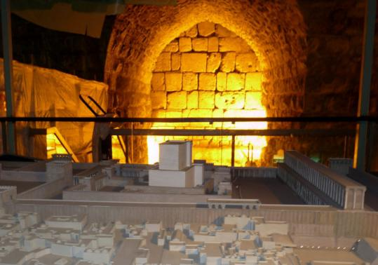 A mockup of the Temple Mount in the tunnels along the excavated portion of the Western Wall.