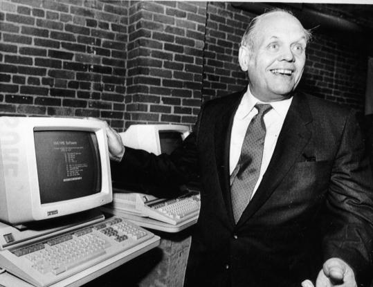 Ken Olsen introduces equipment in the the Microvax ll computer system in 1985.