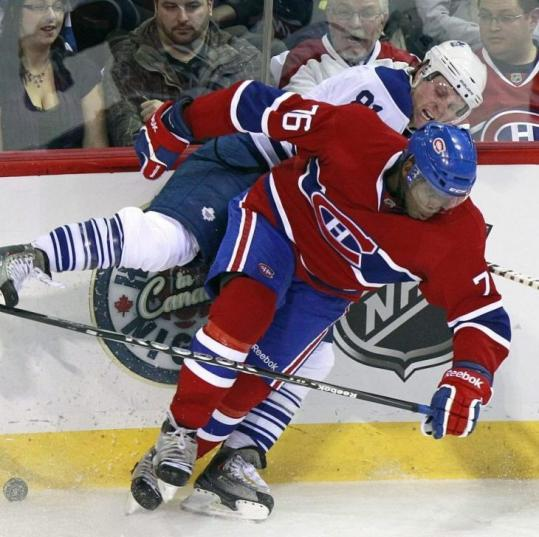 Montreal's P.K. Subban (front) checks Phil Kessel of the Maple Leafs in the second period of the Canadiens' 3-0 win.