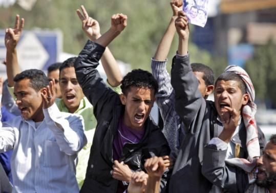 Antigovernment protesters shouted demands for political reform at a demonstration in Yemen's capital yesterday.