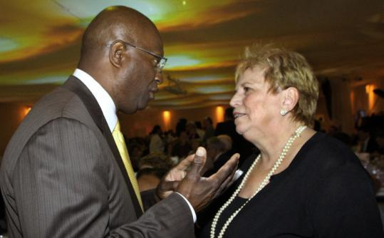 Margaret McKenna with the Urban League's Darnell Williams.