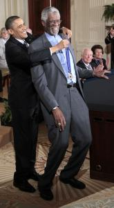 Celtics legend Bill Russell was awarded the Presidential Medal of Freedom yesterday.