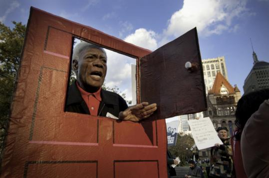 Marshall Cooper, 75, protested a bankers convention in Boston last October. His story of facing post-foreclosure eviction is featured in 'We Shall Not Be Moved.'