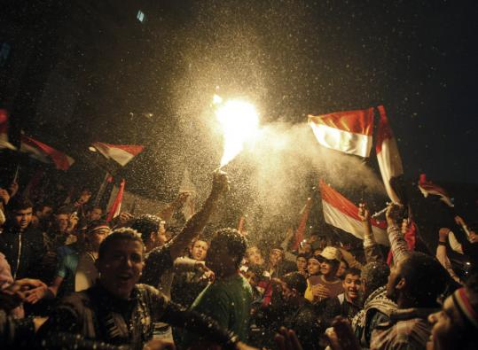 Tens of thousands of flag-waving Egyptians packed into Tahrir Square in Cairo for a day of prayer and celebration yesterday to mark the fall of Hosni Mubarak a week ago.