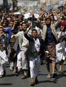 Antigovernment protesters shouted slogans during a demonstration in Sanaa, Yemen. It was the ninth straight day of protests in Yemen inspired by uprisings in Egypt and Tunisia.