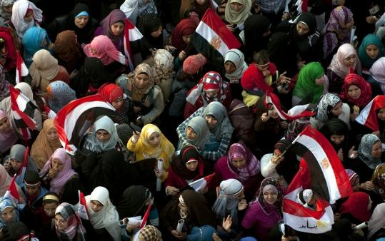 Egyptian women gathered Friday in Cairo's Tahrir Square. During the demonstrations, men and women stood side by side.