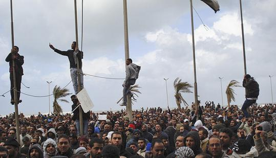 Crowds gathered during the recent days' unrest in Benghazi, where protesters took over the local army barracks yesterday.