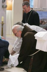 Cardinal Sean P. O'Malley of Boston and Archbishop Diarmuid Martin of Dublin washed the feet of eight abuse victims at St. Mary's Pro-Cathedral in Dublin.