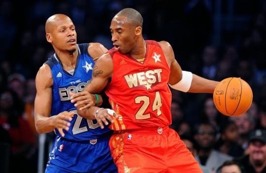 Crowd favorite Kobe Bryant backs down the Celtics' Ray Allen during the first half of last night's NBA All-Star Game.