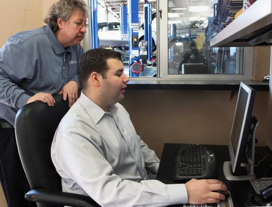 Mike Pedersen, owner of Mike's Automotive Services in Somerville, has built his company's Web presence with the help of his son, Mark, 31.