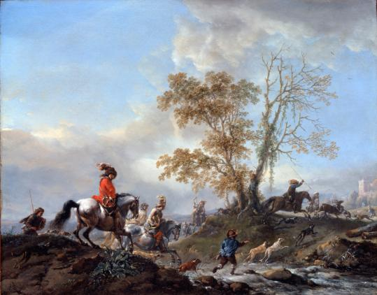 "Philips Wouwerman's ""The Stag Hunt,'' one of more than 100 paintings he created with the theme of the chase."