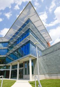 The Mandel Center for the Humanities at Brandeis University. The glass walls draw as much light as possible into the building.
