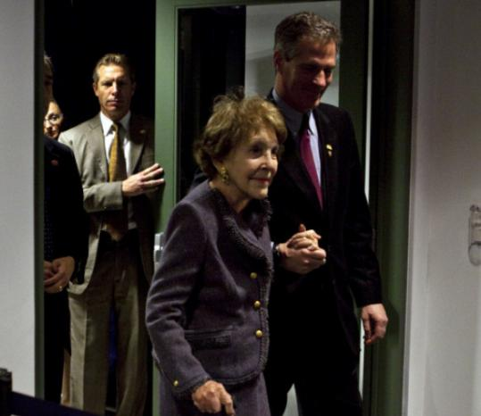 Senator Scott Brown walked Nancy Reagan to her seat last night at the Ronald Reagan Presidential Library.