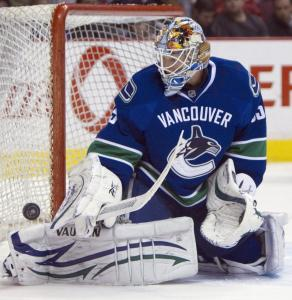 "With saves like this one, Canucks goalie Cory Schneider recorded the victory — his 11th of the season — against the Blues Thursday. ""Things are going really well,'' said the rookie."