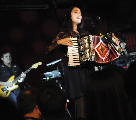 Mexican pop star Julieta Venegas performs at the Wonderland Ballroom on Saturday night.