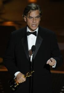 Aaron Sorkin after winning the Oscar for adapted screenplay.