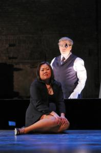 "Sol Kim Bentley as The Daughter and Sanford Sylvan in the title role in Opera Boston's staging of Hindemith's ""Cardillac.''"