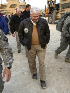 Defense Secretary Robert Gates walks in Kunar Province, Afghanistan.