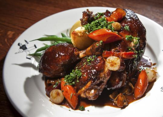 Coq au vin at Les Zygomates. Executive chef John Paine uses Giannone poultry from Canada.
