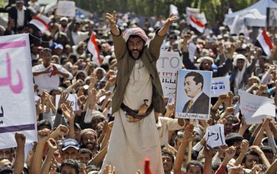 Demonstrators in the capital city of Sana yesterday demanded the resignation of President Ali Abdullah Saleh of Yemen.