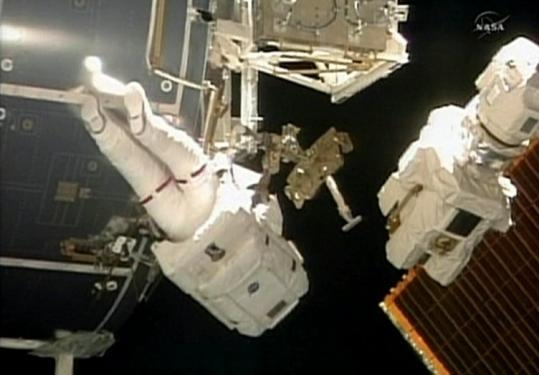 This image from NASA TV shows Discovery astronaut Stephen Bowen during the shuttle crew's second spacewalk yesterday.