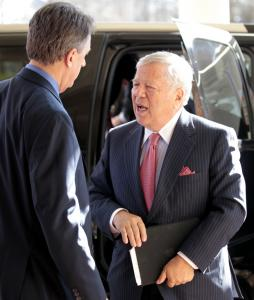 New England Patriots owner Robert Kraft talked with NFL spokesman Greg Aiello yesterday in Chantilly, Va. Any work stoppage would be bad for owners and players, Kraft says.