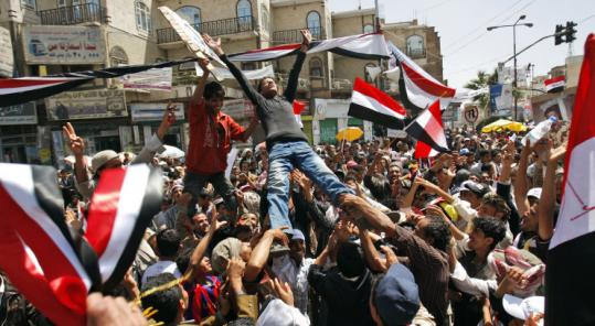 Antigovernment protesters in Sanaa, Yemen, demanded the resignation of President Ali Abdullah Saleh yesterday.